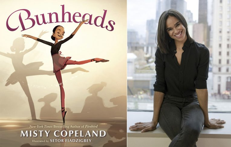 Misty Copeland (right) with book cover of Bunheads (left)
